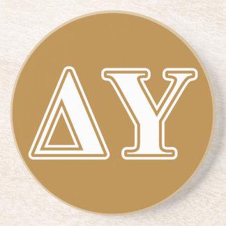 Delta Upsilon White and Gold Letters Sandstone Coaster
