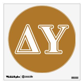 Delta Upsilon White and Gold Letters Wall Sticker