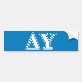 Delta Upsilon White and Sapphire Blue Letters Bumper Sticker