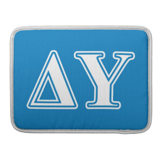 Delta Upsilon White and Sapphire Blue Letters Sleeves For MacBook Pro
