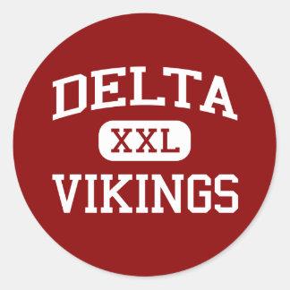 Delta - Vikingos - escuela secundaria del delta - Etiqueta Redonda