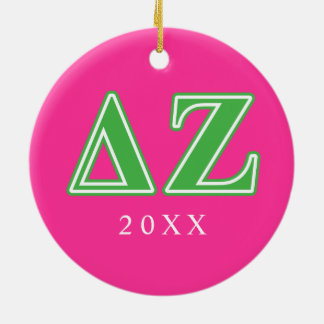 Delta Zeta Green Letters Ceramic Ornament