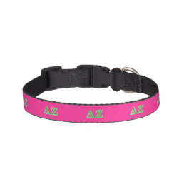 Delta Zeta Green Letters Pet Collar