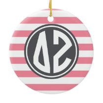 Delta Zeta | Monogram Stripe Pattern Ceramic Ornament