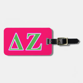 Delta Zeta Pink and Green Letters Bag Tag