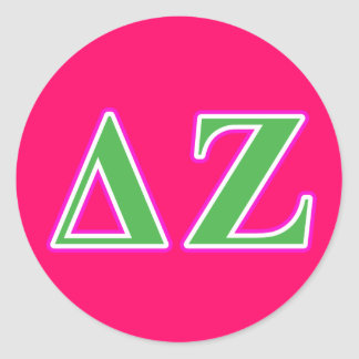 Delta Zeta Pink and Green Letters Classic Round Sticker
