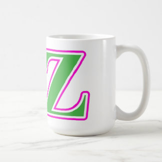 Delta Zeta Pink and Green Letters Coffee Mug