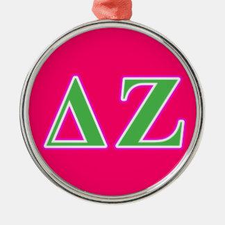 Delta Zeta Pink and Green Letters Metal Ornament