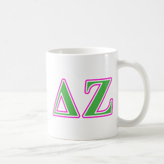 Delta Zeta Pink and Green Letters Classic White Coffee Mug