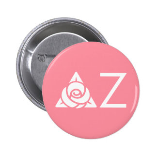 Delta Zeta Rose Icon White Button