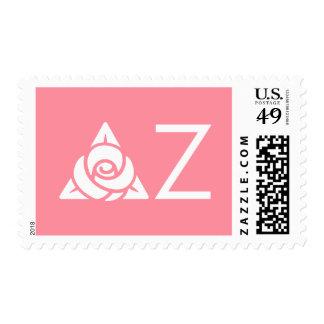 Delta Zeta Rose Icon White Postage