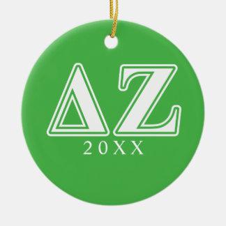 Delta Zeta White and Green Letters Ceramic Ornament