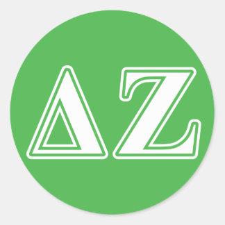 Delta Zeta White and Green Letters Classic Round Sticker
