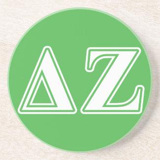 Delta Zeta White and Green Letters Coaster