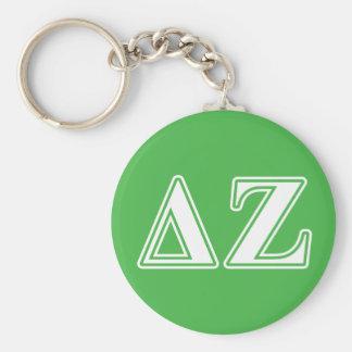 Delta Zeta White and Green Letters Keychain