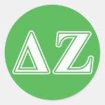 Delta Zeta White and Green Letters Sticker