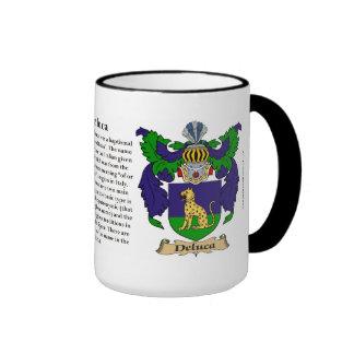 Deluca Family Coat of Arms Ringer Coffee Mug
