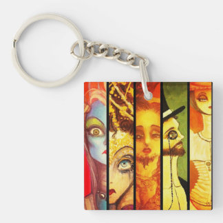 Delusional Characters Double-Sided Square Acrylic Keychain