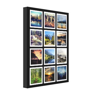 Deluxe 12 Photograph Grid Collage Canvas Print