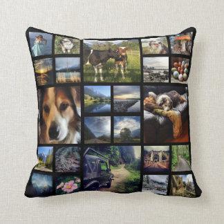 Deluxe 24 Instagram Photos Mega Collage Black Throw Pillow