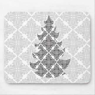 DeLuxe Black and White Damask Christmas Tree Mouse Pad