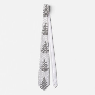 DeLuxe Black and White Damask Christmas Tree Neck Tie