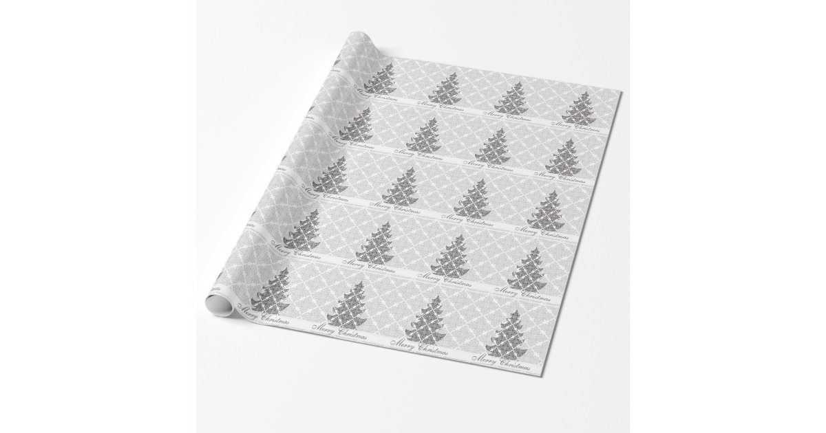 DeLuxe Black and White Damask Christmas Tree Wrapping ...