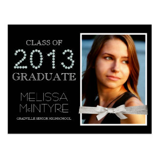 Deluxe Bling and Glitter Glam Grad Photo Postcard