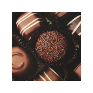 deluxe box of chocolates close up canvas print