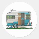 Deluxe Camper Trailer Classic Round Sticker