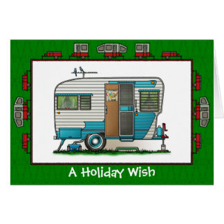 Deluxe Camper Trailer Holiday Wish Card