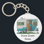 "Deluxe Camper Trailer HSH Keychain<br><div class=""desc"">Camping memories last a lifetime! Zazzle is proud to offer this selection of customizable items with this Deluxe camper image by artist Richard Neuman. His uniquely styled images combining detail with a touch of whimsy is collected worldwide.</div>"