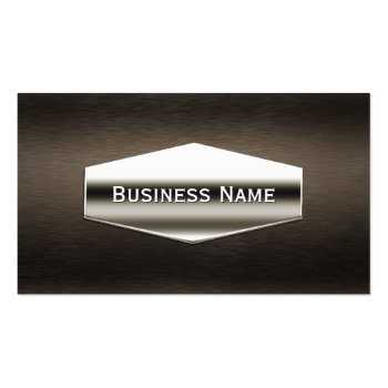 Deluxe Chrome Label Dark Wood Business Card