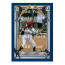 Custom Baseball Card - This do-it-yourself baseball card makes the perfect gift for the little-leaguer in your family. It's not just for kids though as adults can fulfill their fantasies of being featured on their very own baseball card. The card features easy-to-use template fields to insert your own photo and baseball statistics on the back. There is an area to 'engrave' your own name on a silver, metal nameplate. The stats on the back allow for two seasons so you can compare your performance from the previous season. There is also a row to total up the two seasons.