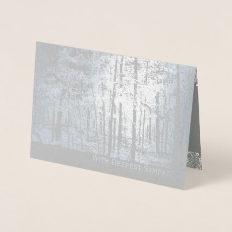 Deluxe Foil Silver Trees Scripture Sympathy Card