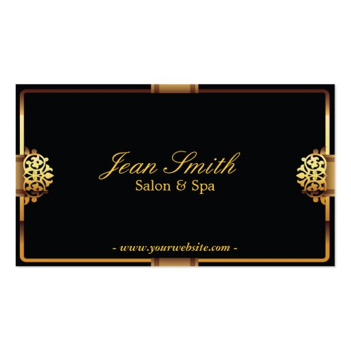 Deluxe Gold Frame Salon & Spa Business card