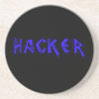 Deluxe Hacker rough font Coaster