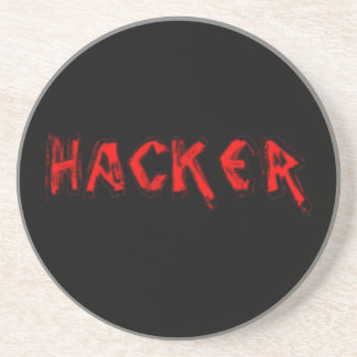 Deluxe Hacker rough font Drink Coaster