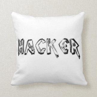 Deluxe Hacker rough font Pillow