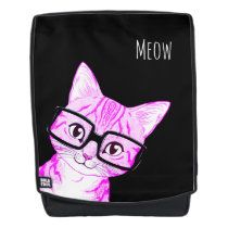 Deluxe Large Weatherproof Nerdy Cat Art Backpack