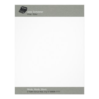 Deluxe Noiseless Typewriter | Gray Faux Flannel Letterhead