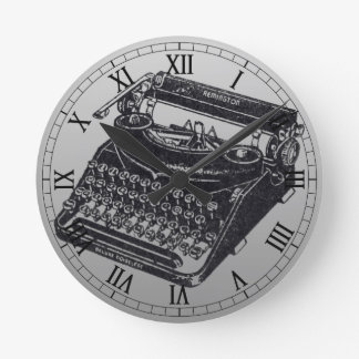 Deluxe Noiseless Typewriter Round Clock