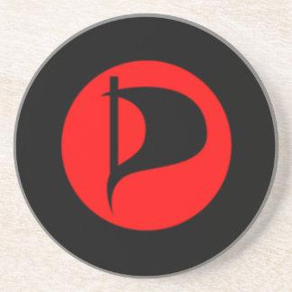 Deluxe Pirate Party Logo(see description) Sandstone Coaster