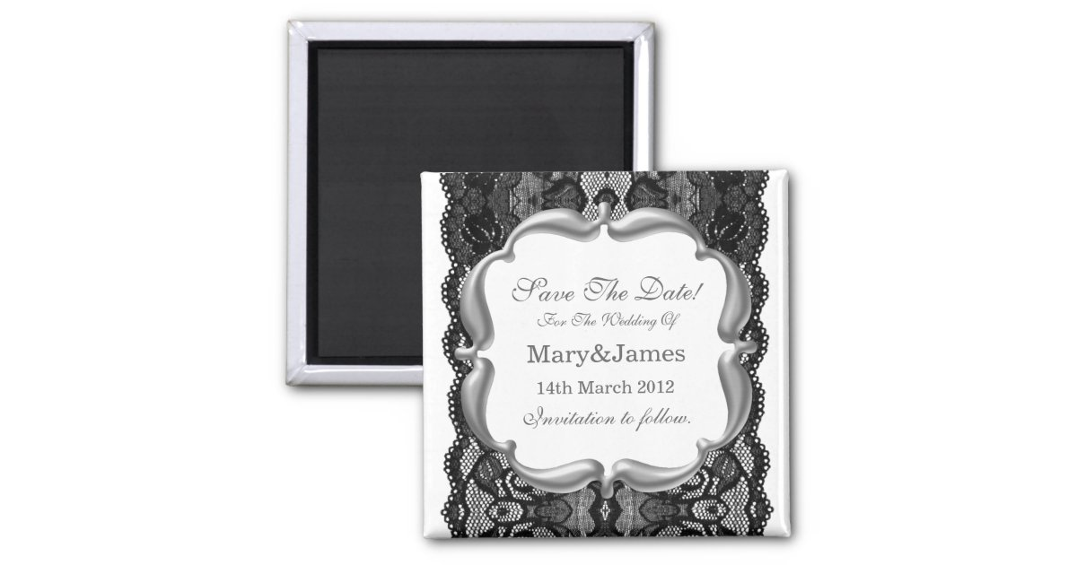 Deluxe Save The Date Wedding Vintage Lace White 2 Inch ...