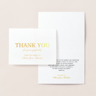 Deluxe Sympathy Thank You Card Gold Foil