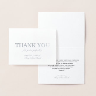 Deluxe Sympathy Thank You Card Silver Foil
