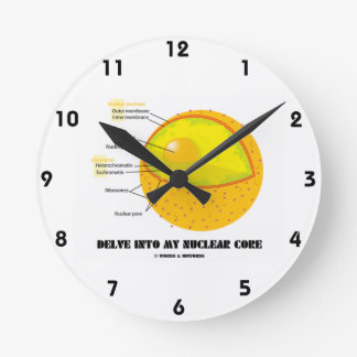 Delve Into My Nuclear Core (Cell Nucleus Attitude) Round Clock