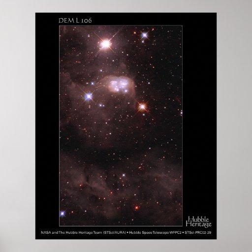 DEM L 106 telescopio de la nube de Magellanic de H Posters