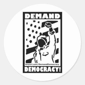 Demand Democracy Classic Round Sticker
