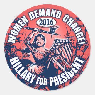 Demanda Hillary 2016 de las mujeres Etiquetas Redondas